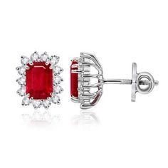 Angara.com: Emerald Cut Ruby and Diamond Border Earrings (7X5 mm) Price: $2,059.99 #Angara