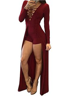 14c1325047a Walant Women Sexy Deep V Neck Lace Up Long Sleeve Bodycon Party Club Dress.  Feature  brand new and high quality Gender Women Material Polyester fibre  ...