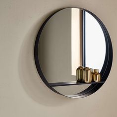 BuyDesign Project by John Lewis No.120 Circle Mirror With Shelf, Black Online at johnlewis.com