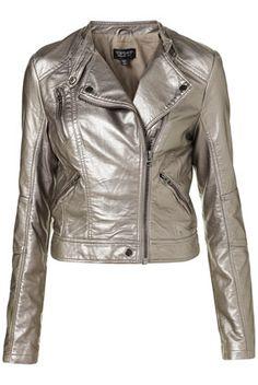 Metallic Clean Biker Jacket