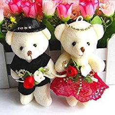 "4.7"" Lovely Plush Toys Doll Conjoined Bear,Bride and Groom Wedding Teddy Bear Decoration for Wedding Car,Valentine's Day Gift Couple's One Pair of Wedding Gifts Present(2Pcs,Random Sent)"