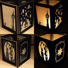 Beautifully handcrafted decorative lantern. Inspired by Tangled. This item is %100 customizable. If you have a favorite character let us know! We will be sure to accommodate you. All orders will be made in order of which they were received.   Item is lit by candle light. CANDLE NOT INCLUDED. INTERNATIONAL BUYERS: YOU ARE RESPONSIBLE FOR ANY IMPORT TAXES THAT MAY APPLY. PLEASE CONTACT ME ABOUT PROMOTIONAL DISCOUNTS ON THIS ITEM!  Dimensions: 7x5x5inches