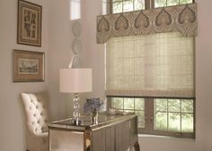 Window Treatments - Decorative cornice with textured roller shade.