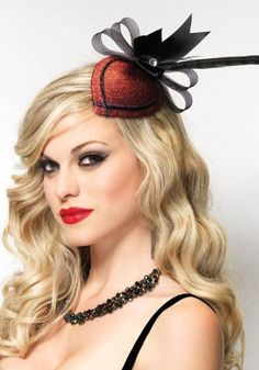 Retro lurex fascinator hair clip with rhinestone and feather O/S RED $9.95