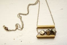 Faceted Peruvian Pyrite & Vintage Brass Tubes Necklace