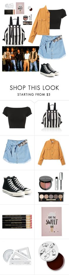 """""""First day of school. Back to 90s"""" by vickiecookie ❤ liked on Polyvore featuring Helmut Lang, Marc Jacobs, SJYP, Converse, Bobbi Brown Cosmetics, too cool for school, school and look"""