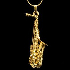 saxophone pendant | Selmer Alto Sax Replica Jewelry Necklace 24K Gold Plate in Musical ...
