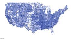 La carte des rivières aux États-Unis./ Map of rivers in the US.
