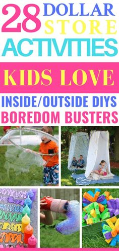 These dollar store ideas are the best to boredom busters for Spring Break or rainy days! Over 28 summer kids activities for boys & girls of all ages! From outdoor water and sensory play activities to Summer Crafts For Kids, Summer Kids, Diy Crafts For Kids, Kids Diy, Spring Crafts, Diys For Summer, Easy Crafts, Easy Diy, Rainy Day Activities For Kids