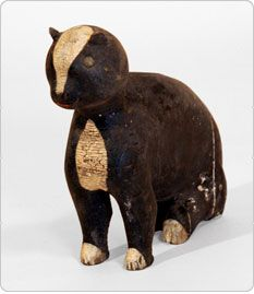 """Archie Zimmerman (1861-1961) - Folk Art Black & White Seated Cat with Tack Eyes. Carved & Painted Wood. Signed """"Jasonville, Ind. 1941."""""""
