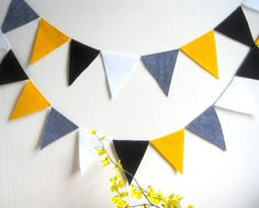Wedding pennant flag banner yellow grey black white by PaintRobot, $19.00