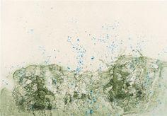 "Pat Steir Mountain in Rain 2012 Color direct gravure 21 1/4"" x 30 1/2"""