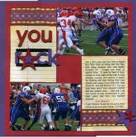 You Rock Football layout--A Project by oncologypea from our Scrapbooking Gallery originally submitted 02/07/09 at 01:16 PM