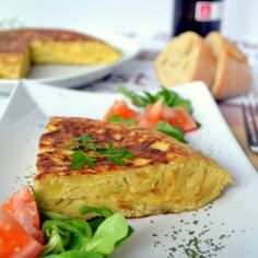 Tortilla Espanola. Also known as the Tortilla de Patata. Most famous Spanish omlette. At most places, often served as an appetizer. Some Spaniards put it on bread and consume it as a sandwich. Is made of potatoes, onions, and eggs that are fried in a pan with a slight touch of olive oil.