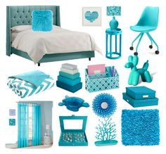 """Turquoise Room Decor"" by lizf99 ❤ liked on Polyvore featuring interior, interiors, interior design, home, home decor, interior decorating, Cyan Design, Intelligent Design, Mi-Zone and PBteen"