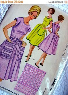 Sale:) Vintage  McCalls Sewing Pattern 2440 - Misses' Wrap-Around Apron Dress - Size Large ( Bust 38 - 40 ) FACTORY FOLDED by anne8865 on Etsy https://www.etsy.com/listing/266679463/sale-vintage-mccalls-sewing-pattern-2440