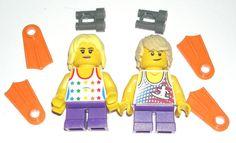 LEGO City Beach Boy/Girl Minifigures Blonde Surfer Tank Tops Flippers Binoculars #LEGO Lego Beach, Lego Custom Minifigures, Lego Group, Lego House, City Beach, Lego City, Tank Tops, Binoculars, Boys
