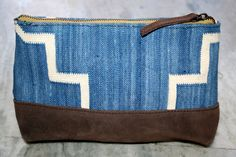 Indian Handmade Kilim Clutch Bag Zip-Top Leather Handbag  #Handmade #ClutchBag