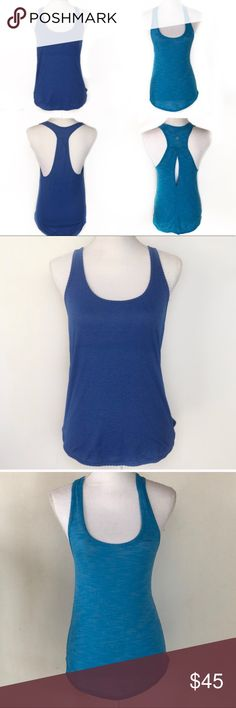 2 Lululemon Athletica Blue Striped Racerback Tanks 2 Lululemon Athletica Blue Striped Racerback Tanks  Good condition Light blue tank has a HARDLY noticeable spot on front, see last photo Please ask for measurements before purchasing lululemon athletica Tops Tank Tops