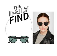 """""""The Daily Find: Ray-Ban Round Sunglasses"""" by polyvore-editorial ❤ liked on Polyvore featuring Ray-Ban, women's clothing, women, female, woman, misses, juniors and DailyFind"""