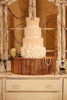 Lace and burlap looking country wedding cake.