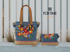 Maxi shopping bordado con flores y bolso de mano a juego de FOR TIME
