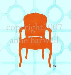 ORANGE CHAIR SILHOUETTE Collage on Canvas by annechovie on Etsy, $52.00