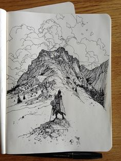 Twitter / ianmcque: Sketchbook: Mountains. ...
