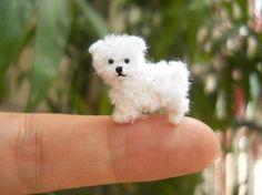 Cachorro Maltés - miniatura de ganchillo pequeño perro animales de peluche - por encargo