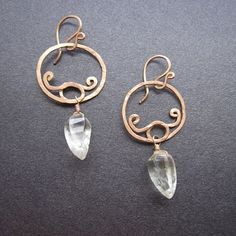 Nouveau 37 Hammered swirl hoops with green by CalicoJunoJewelry, $72.00