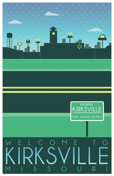 A series of posters that illustrate significant locations/events in Kirksville…