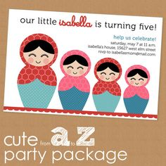 little nesting dolls party package - custom design, you print