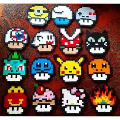 Mushrooms perler beads by  jessnmyers                                                                                                                                                                                 Más