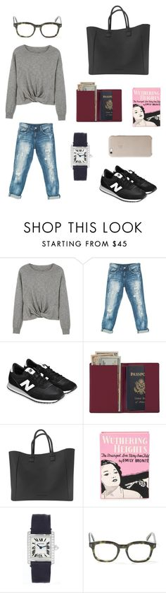 """Airport style"" by sofi-sergi ❤ liked on Polyvore featuring MANGO, Sans Souci, New Balance, Royce Leather, Olympia Le-Tan, Cartier and STELLA McCARTNEY"