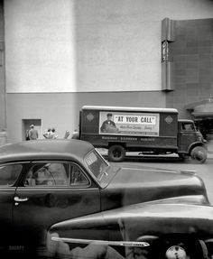 "New York circa 1948. ""WCBS broadcast studios, 49 East 52nd Street."" 4x5 inch acetate negative by John M. Fox."