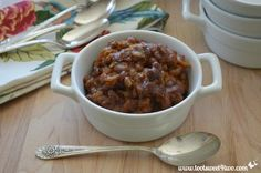 """""""Deliciously sweet and sticky, Million Dollar Baked Beans are made with a whole pound of thick-sliced bacon! Using canned baked beans, which cuts the preparation time, cooking time and baking time down considerably. Baked Bean Recipes, Chicken Recipes, Beans Recipes, Canned Baked Beans, Cooking Time, Cooking Recipes, Great Recipes, Favorite Recipes, Food Dishes"""