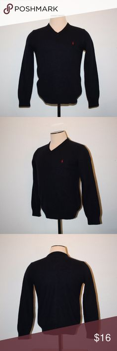 "POLO RALPH LAUREN Mens Lambs Wool Sweater Large Polo Ralph Lauren Very Good Condition - No Holes Pullover Dark Blue (almost a Black) V-Neck Large Logo on Chest  PLEASE REVIEW MEASUREMENTS     Chest:  41"" (armpit to armpit then doubled) Length:  24"" Sleeve Length:  24 1/2"" 100% Lambs Wool Polo by Ralph Lauren Sweaters V-Neck"