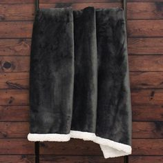 Riva Paoletti Lux Sherpa Fleece Throw, Charcoal, 127 x 152 Cm