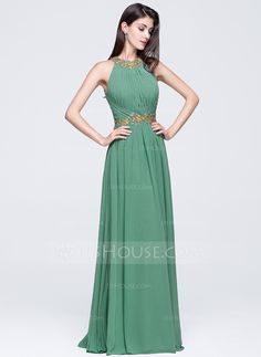A-Line/Princess Scoop Neck Floor-Length Chiffon Prom Dress With Ruffle Beading Appliques Lace Sequins (018070360)