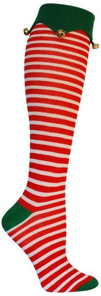 Red and white stripe Green cuff elf knee high christmas socks
