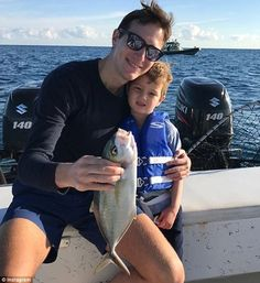 Big catch: 'To any kid, this fish is a trophy!' wrote Ivanka on the series of photos she p...