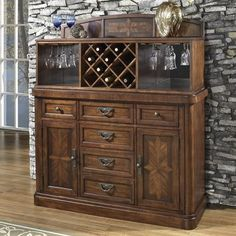Somerton Home 2 piece Barrington Server Hutch Buffet Table, Walnut