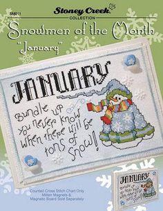 Snowmen of the Month - January - Cross Stitch Pattern