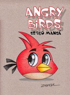ILUSTRAÇÃO E ARTE - GAME DESIGN - ANGRY BIRDS ESTILO MANGÁ - CARTOON - ZAMBA