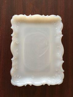 Antique milk glass vanity tray by HollysCollageCorner Antique Glassware, Antique Perfume Bottles, Glass Vanity, Vanity Tray, Chandeliers, Milk Glass Lamp, Vintage Pottery, Vintage Antiques, Fenton Glass