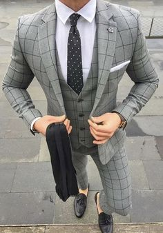 This beautiful example of grey windowpane three piece suit can be worn to many occasions. Such as a business meeting, date with a woman or wedding. It can also be custom made by our stylists from Giorgenti New York! Latest Mens Fashion, Mens Fashion Suits, Mens Suits, Men's Fashion, Lifestyle Fashion, Fashion Ideas, Best Suits For Men, Cool Suits, Suit Combinations