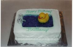 "RUBBER DUCKY BATHTUB CAKE - Bake 2 rectangle sheet cakes. Cut out center of one cake leaving a 3"" rim and freeze. Frost uncut cake. Place frozen cake on top of frosted cake and frost together to create the ""bathtub."" Fill center with ""water"" made from vanilla pudding tinted blue with food coloring. Or make blue Jell-O in pan using an extra envelope of gelatin, so it will hold together. When set, scoop into ""bathtub. Top with bath toys."