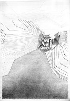 architectural drawing design river dwelling Sheri Fabian graphite on vellum. Architecture Graphics, Concept Architecture, Architecture Drawings, Gothic Architecture, Architecture Design, Plan Drawing, Drawing Ideas, Drawing Tutorials, Drawing Tips