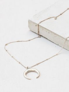 Sterling Silver Tusk Double Horn Crescent Moon Necklace