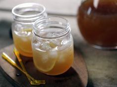 Back Nine (Spiked Arnold Palmer). 2 cups strong iced tea, 1/2 cup fresh lemon juice, simple syrup to taste, 1 cup bourbon. Recipe also calls for another 2 cups water before stirring in bourbon. Taste first? Pour over ice.